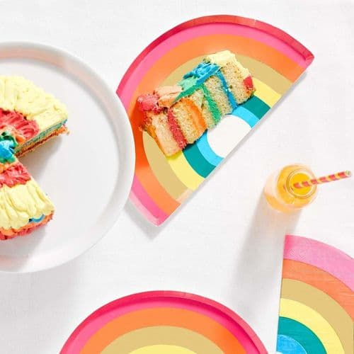 Birthday Brights Rainbow Shaped Paper Party Plates x 12