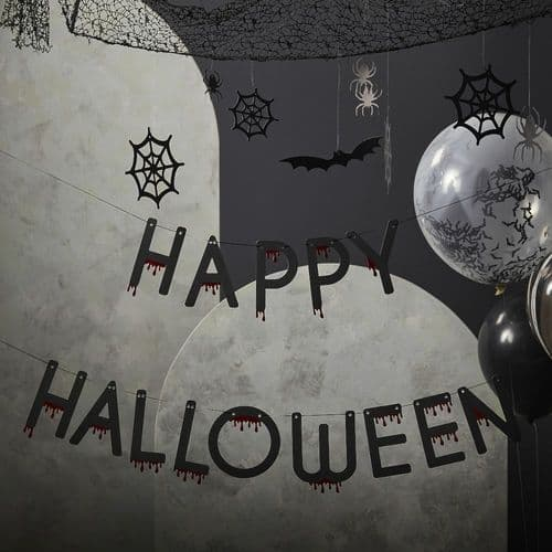 Blood Drip Foiled Happy Halloween Bunting 4m