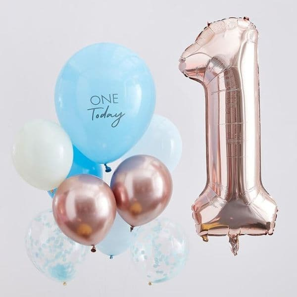 Rose Gold and Blue 1st Birthday Balloon Bunch, Number 1 Balloon, 1st Birthday Party Balloons, 1st Birthday Decorations, Boys 1st Birthday