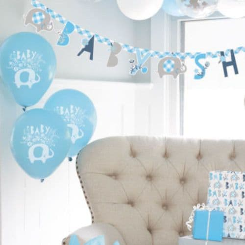 """Blue Floral Elephant 12"""" Latex Baby Shower Balloons x 8"""