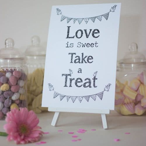 Candy Sweet Bar Sign White 'Love Is Sweet' Sign And Easel Stand - Wedding
