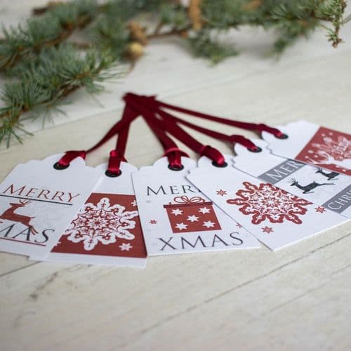 Christmas Gift Tags Red And White Reindeers Snowflakes x 6 Xmas Present Labels