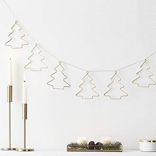 Christmas Gold Wire Christmas Tree Bunting 2m
