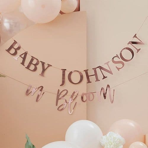 Customisable Rose Gold Baby Shower Bunting Baby in Bloom