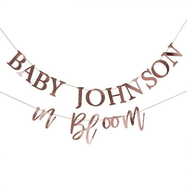 Rose Gold Baby Shower Bunting, Baby In Bloom Decorations, Customisable Baby Shower Bunting, Neutral Baby Shower, Gender Reveal Party, 2m X2