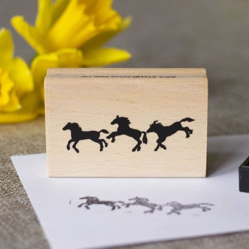 Dancing Horses Wood Mounted Rubber Craft Stamp