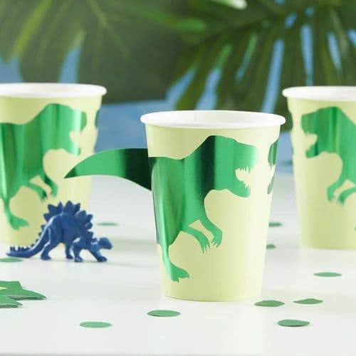 Dinosaur Paper Cups Foiled x 8 - Partyware
