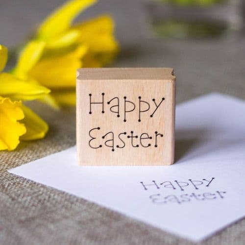 Dotted Happy Easter Wood Mounted Rubber Craft Stamp