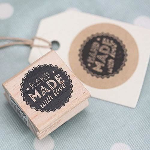 East of India 'Hand Made With Love' Wooden Rubber Stamp - Craft