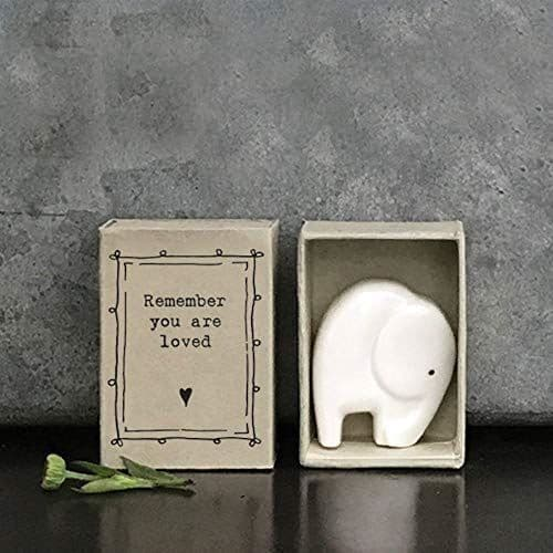 East Of India MINI Matchbox Elephant Porcelain Remember you are loved