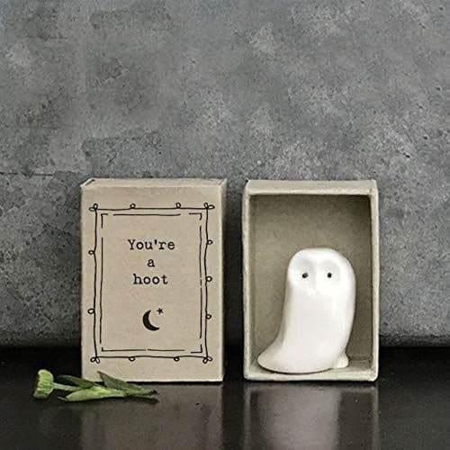 East Of India MINI Matchbox Owl 'Your're a hoot.' Porcelain Gift