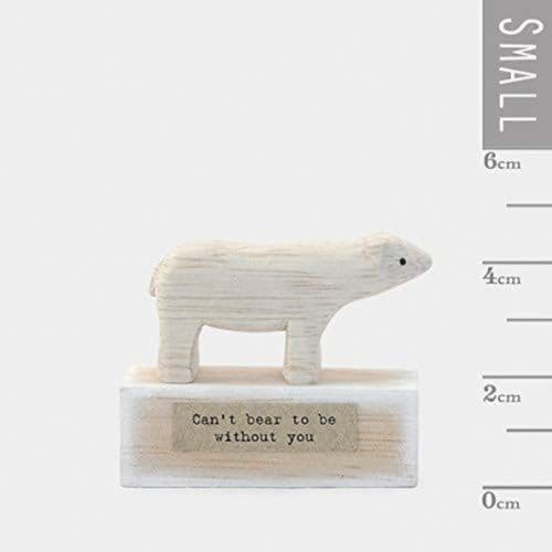 East of India Mini Wooden Handmade Bear 'Can't bear to be without you'