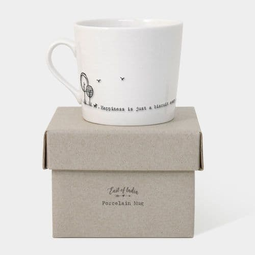 East of India Porcelain Ceramin Mug 'Happiness is just a biscuit away' Gift