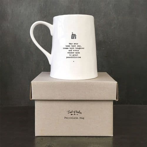 East of India Porcelain Mug - May Your Home Know Joy