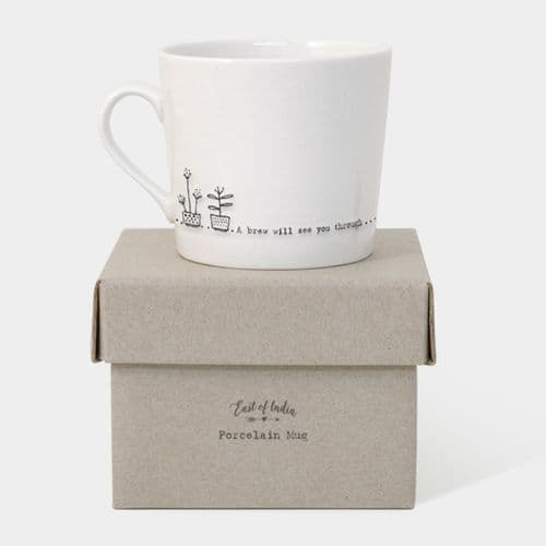East of India Wobbly Mug and Box A brew will see you through - Gift