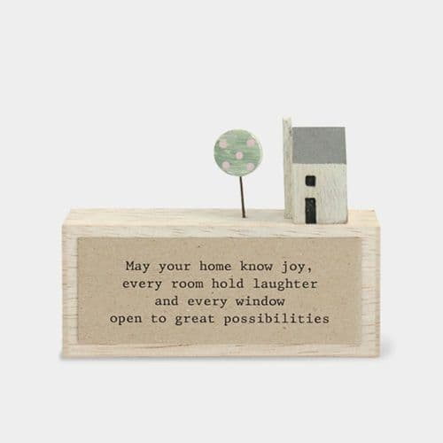 East of India Wooden House Plaque - May your home know joy