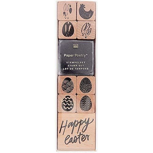 Easter Themed Craft Rubber Ink Stamp Set Scrapbooking with 9 Stamps and Ink