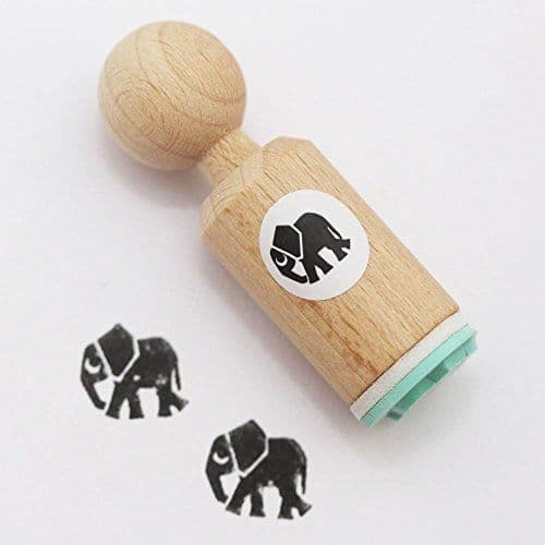 Elephant Round Rubber Stamp - VERY MINI - Craft / Scrapbooking / Stamping