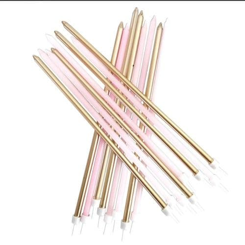 Extra Tall Candles Pastel Pink Metallic Mix with Holders x 16