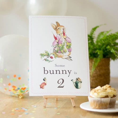 Flopsy Rabbit Some Bunny is 2 Card Easel Peter Rabbit 2nd Birthday