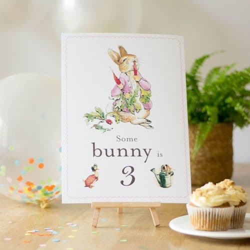 Flopsy Rabbit Some Bunny is 3 Card Easel Peter Rabbit Third Birthday