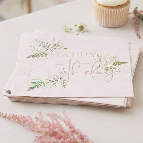 Floral Blush Pink Happy Birthday Paper Party Napkins x 16