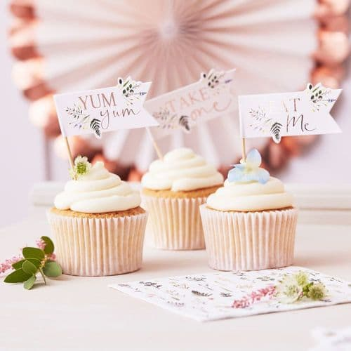 Floral Cupcake Toppers/Picks - Afternoon Tea Party Decorations x 12