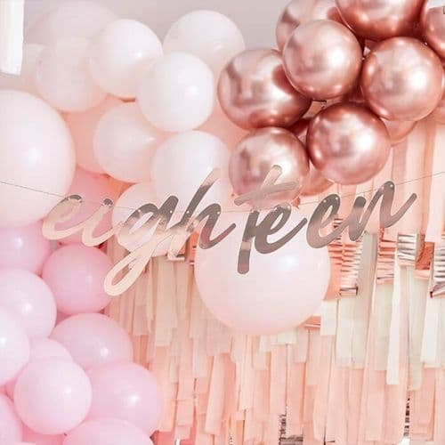 Foiled Rose Gold Eighteen Hanging Bunting 18th Birthday