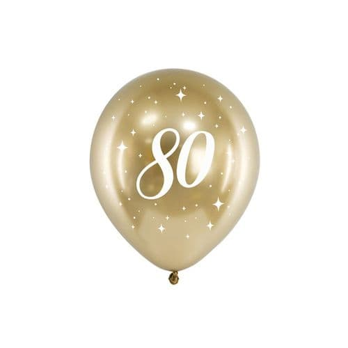 Glossy Gold Number 80 Balloons x 6 80th Birthday Party