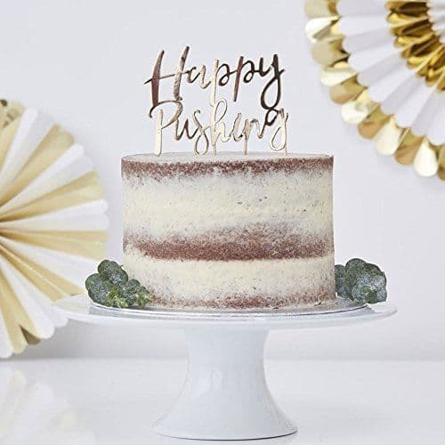 Gold Foiled HAPPY PUSHING Cake Topper - Oh Baby Shower