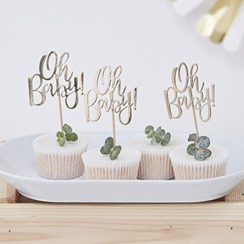 Gold Foiled OH BABY! Baby Shower CUPCAKE TOPPERS Pack of 12