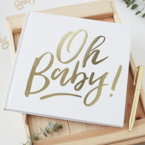 Gold Foiled OH BABY! GUEST BOOK Baby Shower Keepsake Book