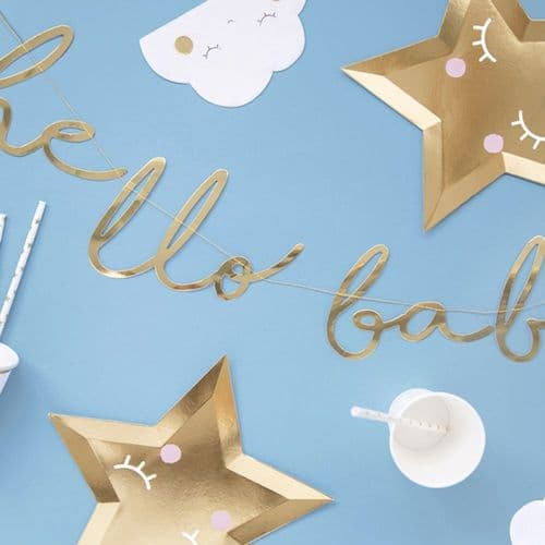 Gold 'Hello Baby' Banner Bunting - Baby Shower 70cm