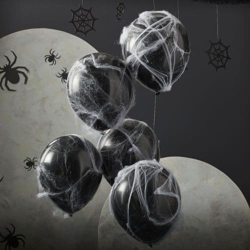 Halloween Balloons with Spider Web Cobwebs x 5