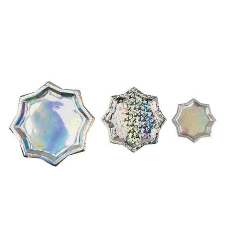 Iridescent Silver Star Paper Party Plates x 6 Christmas Birthday Assorted Sizes