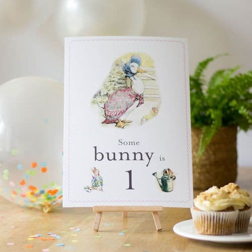 Jemima Puddleduck Some Bunny is 1 Card Easel Peter Rabbit First Birthday