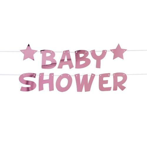 Little Star Pink Baby Shower Foil Bunting 2.5m