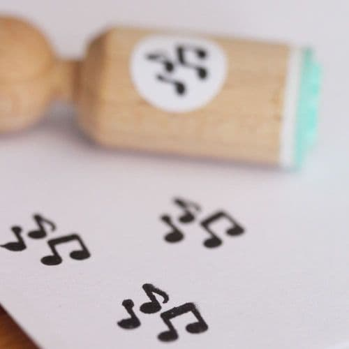 Music Notes Round Rubber Stamp - VERY MINI - Craft / Scrapbooking / Stamping