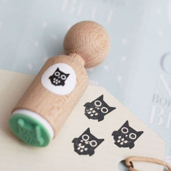 VERY MINI OWL RUBBER STAMP