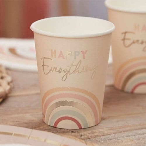 Pastel Happy Everything Gold Foiled Paper Party Cups x 8