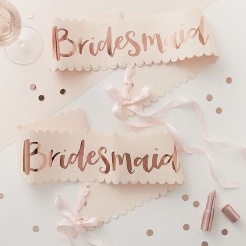 Pink and Rose Gold Bridesmaid Sashes 2 Pack TEAM BRIDE Hen Party