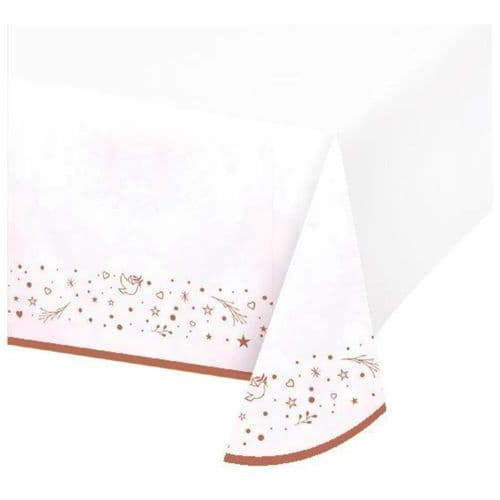 Pink 'On Your Christening' Girl Paper Table Cover 137 x 243cm