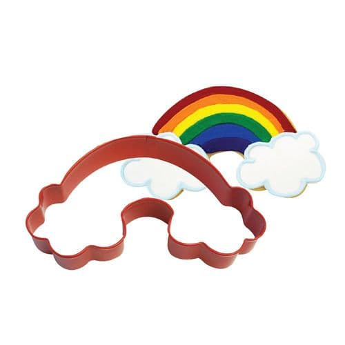 Rainbow Shaped Cookie Cutter Red Poly-Resin Coated Childrens Baking