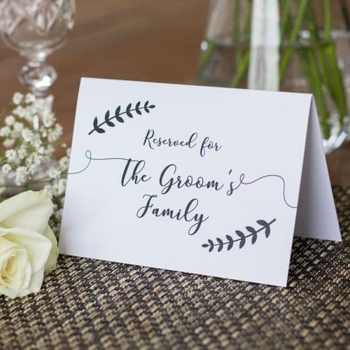 Reserved Wedding Signs Leaf Wreath Cards Set of 4 Mother of Bride Mother of Groom Grooms Family