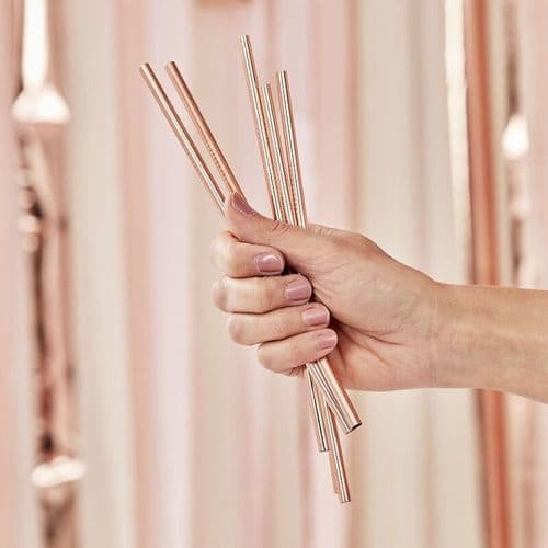 Rose Gold Metal Stainless Steel Party Straws x 5 Reuseable
