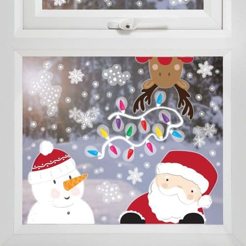 Santa and Friends Window Decal Stickers - 3 Sheets