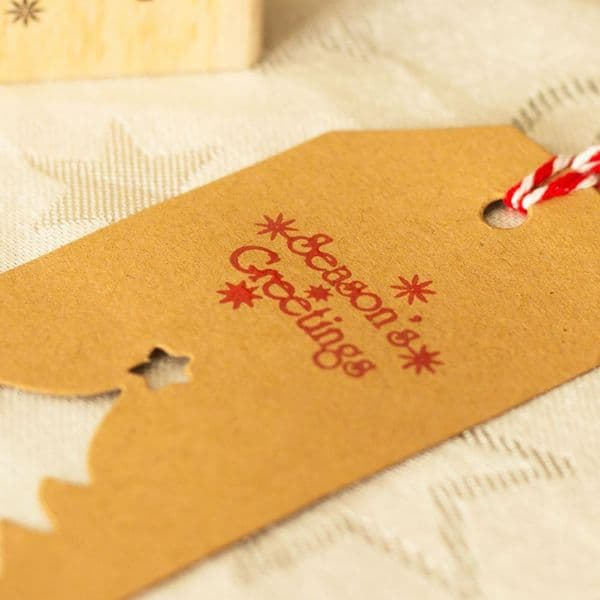Season's Greetings Christmas Rubber Stamp, Craft Ink Stamp, Wooden Rubber Stamp, Festive Scrapbooking Stamps, Ink Stamp