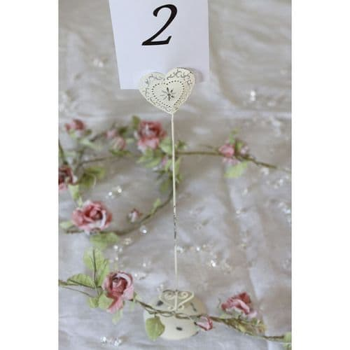 Shabby Chic Vintage Style Heart Wedding Table Number Holder Tall x 4