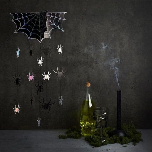 Spider Hanging Mobile Backdrop Decoration with Web