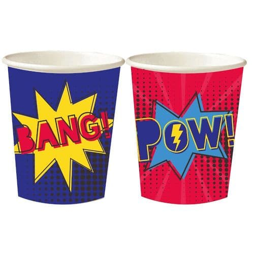 Superhero Birthday Party Mixed Paper Cups Pack of 8